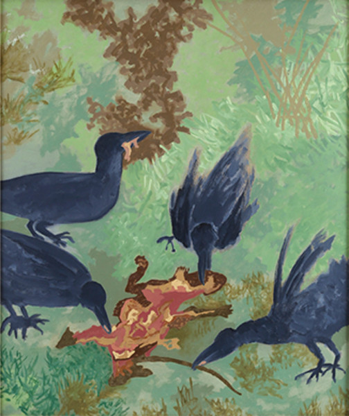 """""""Crows"""" by Gieve Patel, Oil on Canvas, 32.5 x 27.7 inches, 1999."""