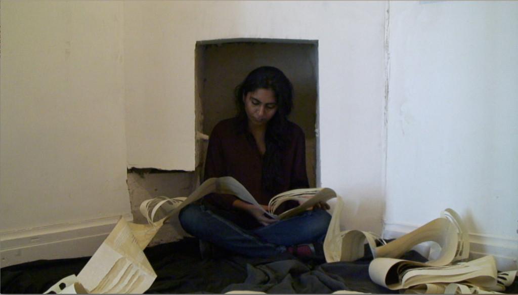 """Burn the Diaries"", performance by Pallavi Paul at Delfina Open Studios, London."