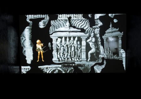 RAQS MEDIA COLLECTIVE, FEVER.FEVER., 2015 Video animation and edited pictures. Origin photo: Gerard Foekema, [House of lac is burning, Amrtesvara Temple, Amrtapura, India], 1979. Special Collections University Leiden, P-021293. Photo: Marc de Haan
