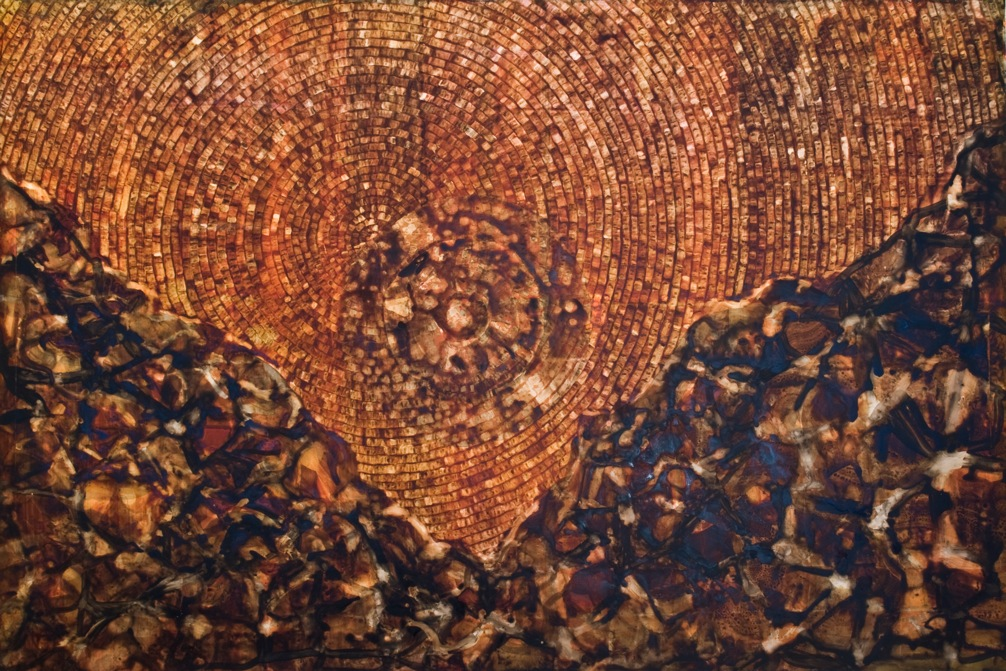 Sandeep Mukherjee Terra Valley Acrylic, acrylic ink & embossed drawing on duralene Size: 24 x 36 inches 2008