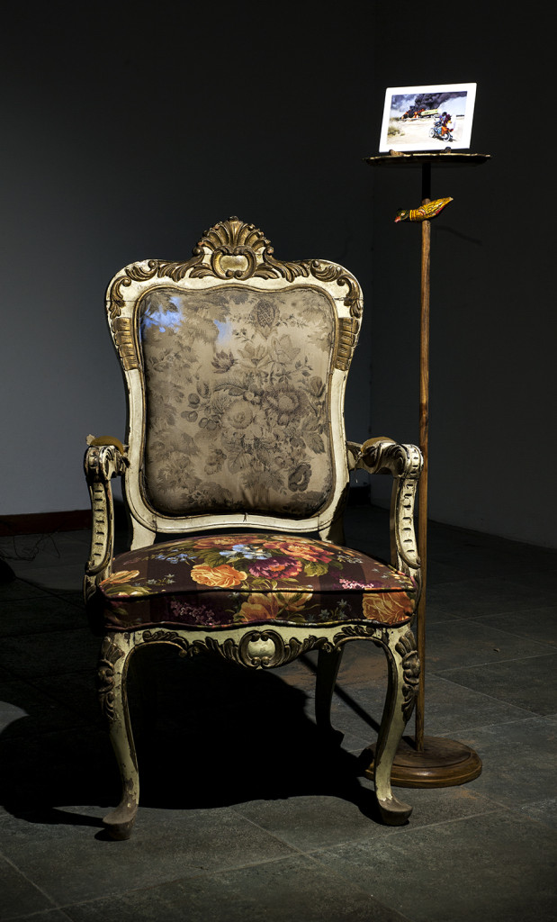 "Installation, ""Untitled"". old Victorian chair, stand with bird, painting on a platter acrylic on canvas, 2014"
