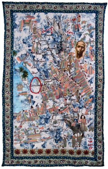 Risham Syed, The Seven Seas: Chittagong Hill Tracts (Bengal) 2012. Nakshi Kantha embroidery appliquéd on digitally print ed cotton from Lahore, old European army coat buttons, Jamda ni on reverse with American cotton wool for filling, 228 x 1 50 cm.