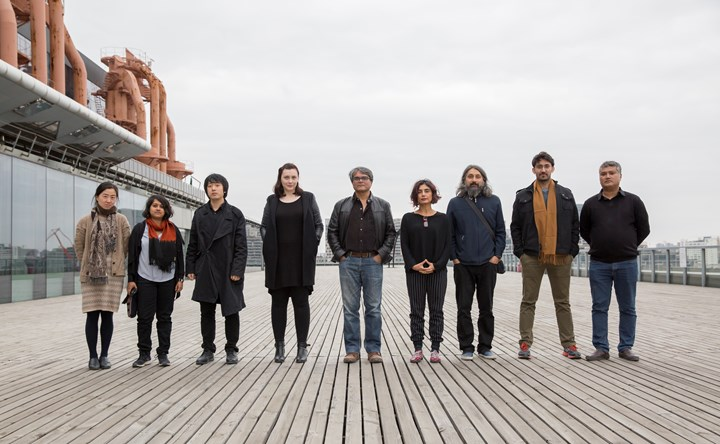 11th Shanghai Biennale Chief Curators, Raqs Media Collective with Curatorial Collegiate and Exhibition Architects. (L-R): Chen Yun, Rupali Gupte, Liu Tian, Tess Maunder, Shuddhabrata Sengupta, Monica Narula, Jeebesh Bagchi, Sabih Ahmed and Prasad Shetty.