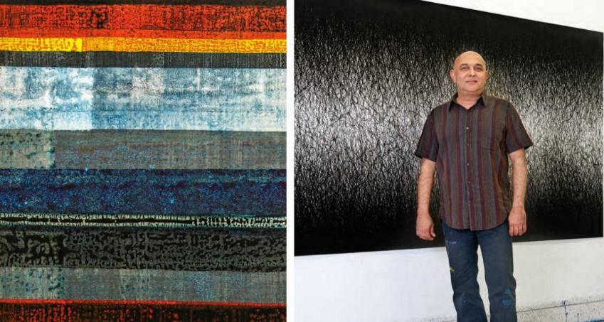 (Right) Sandeep Mukherjee in front of one of his largescale, site-specific modular works that can be reconfigured; (Left) Detail of installation, Gamble House, Pasadena, 2014, Acrylic on Duralene, 52×27 inches.