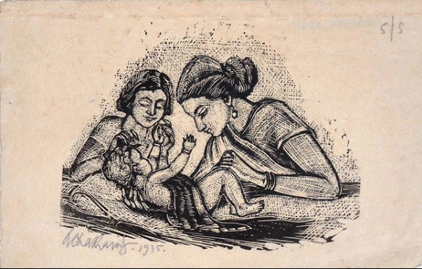 """Untitled (5/5)"", Woodcut, 4 x 6.5 inches, 1935"