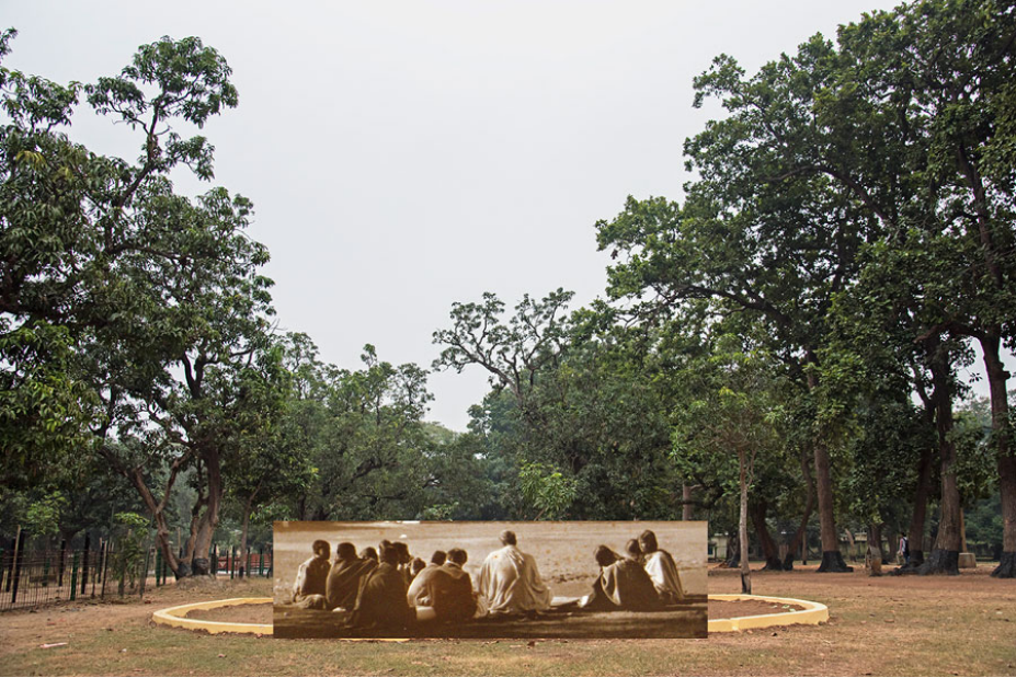 The Otolith Group, Santiniketan Studies (A Century Before Us II): Tapovan Study Circle, 2018, digital collage on Somerset Museum Rag paper, 34 x 51 cm. Courtesy: the artists