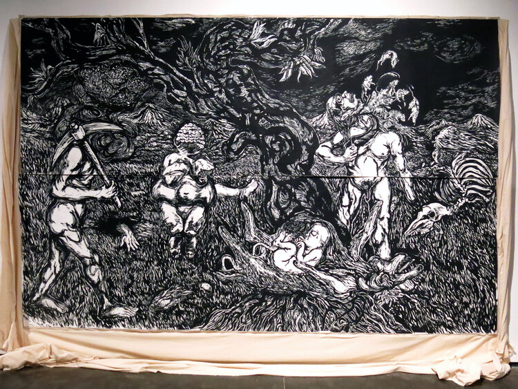 Anupam Roy, from resistance land; Black pigment and distemper on paper (350gsm, acid free, hot-press) pasted on cotton cloth; 10ft x 16ft (approximate, paper size); 2018. Image courtesy- Prakash Rao